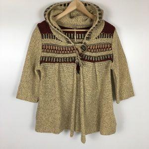 Free People Hooded Wool Blend Cardigan Medium